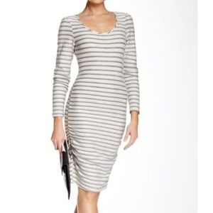 Tart Gray and Cream Striped Midi Dress